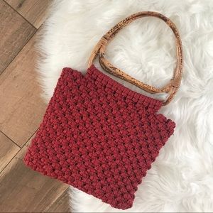 Vintage 70s Rust Red Macrame Bamboo Purse